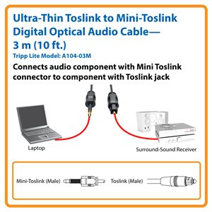 Ultra-Thin Toslink to Mini-Toslink Digital Optical SPDIF Audio Cable in 3 m (10 ft.) Length