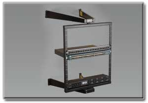 Swinging 2-Post Wall-Mount Open Frame Rack for Secure IT Applications