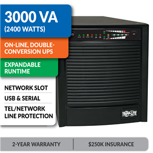 SU3000XL SmartOnline® Double-Conversion Sine Wave Tower UPS with Expandable Runtime and Network Slot