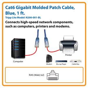 Cat6 Gigabit Molded Patch Cable (RJ45 M/M), Blue, 1 ft.
