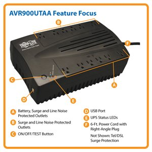 TAA-Compliant, 900VA/480W Line-Interactive UPS with Automatic Voltage Regulation