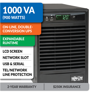 SU1000XLCD SmartOnline® Double-Conversion Tower Sine Wave UPS with Expandable Runtime, Network Slot and LCD
