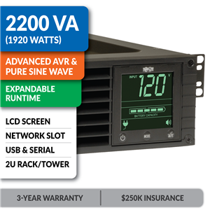 SMART2200RMXL2U SmartPro® Line-Interactive Rack/Tower Sine Wave UPS with Expandable Runtime, Network Slot and LCD