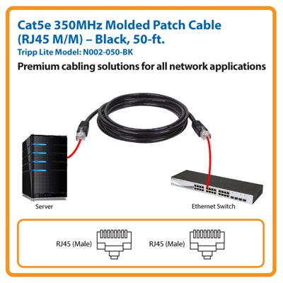 50-ft. Cat5e 350MHz Molded Patch Cable (Black)