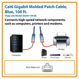 Cat6 Gigabit Molded Patch Cable (RJ45 M/M), Blue, 100 ft.