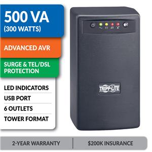 OMNISMART500 OmniSmart® 120V 500VA 300W Line-Interactive UPS, Tower, USB Port