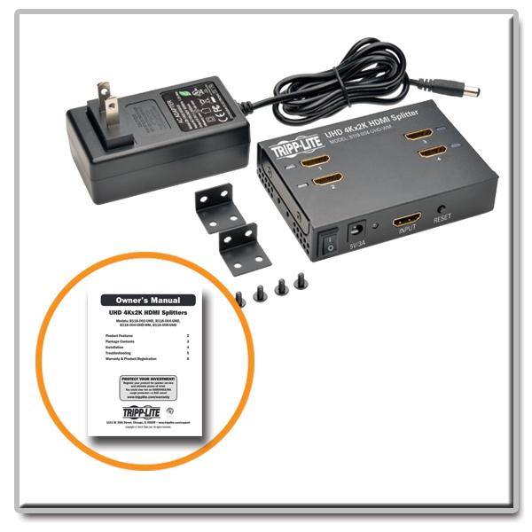 Tripp Lite 4K HDMI Splitter - B118-004-UHD-WM