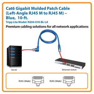 10-ft. Cat6 Gigabit Molded Patch Cable, Left-Angle RJ45 M to RJ45 M (Blue)