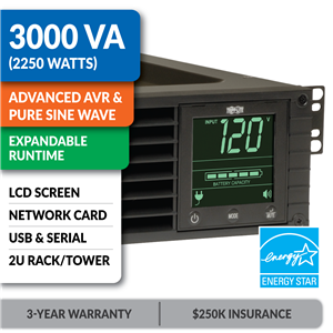 SMART3000RM2UN SmartPro® Line-Interactive Rack/Tower Sine Wave UPS with Expandable Runtime, Network Card and LCD