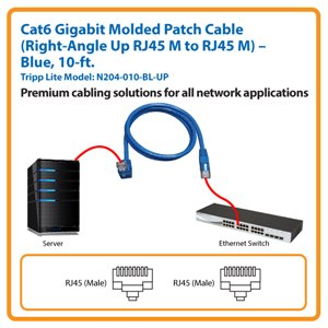 10-ft. Cat6 Gigabit Molded Patch Cable, Right-Angle Up RJ45 M to RJ45 M (Blue)