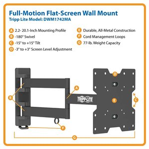 "Ideal For 17""-42"" Displays – This Full-Motion Wall Mount is Simple to Install & Guaranteed to Last!"