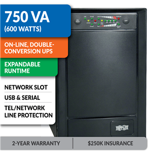 SU750XL SmartOnline® Double-Conversion Sine Wave Tower UPS with Expandable Runtime and Network Slot