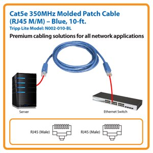 10-ft. Cat5e 350MHz Molded Patch Cable (Blue)