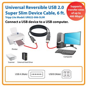 Slim Cable for Connecting Your Computer's USB Port to USB Peripherals (Reversible A to B, M/M)