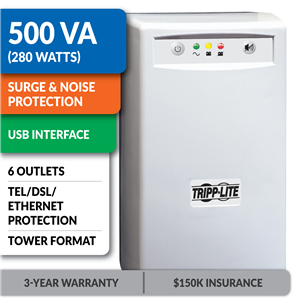 INTERNETOFFICE500 Standby Tower UPS with USB Interface, Tel/DSL/Ethernet Protection