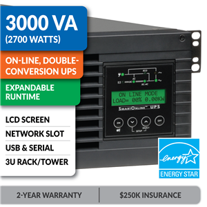 SU3000RTXLCD3U SmartOnline® 3000VA Double-Conversion Rack/Tower Sine Wave UPS with Expandable Runtime, Network Slot and LCD