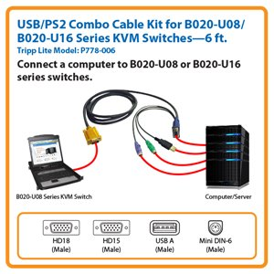 6-ft. USB/PS2 Combo Cable for Tripp Lite's B020-U08/U16 Series KVM Switches