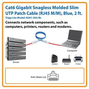 Cat6 Gigabit Snagless Molded Slim UTP Patch Cable (RJ45 M/M), Blue, 2 ft.