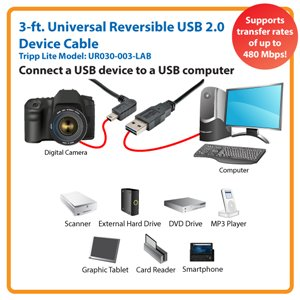 Left-Angled Universal Reversible USB 2.0 Hi-Speed Cable