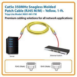 1-ft. Cat5e 350MHz Snagless Molded Patch Cable (Yellow)