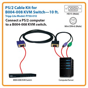 10-ft. PS/2 (3-in-1) Cable Kit for Tripp Lite's B004-008 8-Port KVM Switch