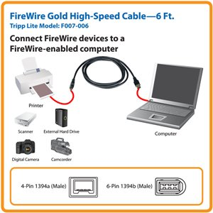 Connect FireWire Devies to a FireWire-Enabled Computer- 6 ft.