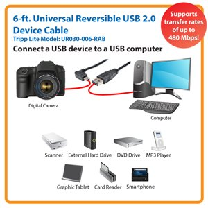 Right-Angled Universal Reversible USB 2.0 6 ft. Hi-Speed Cable