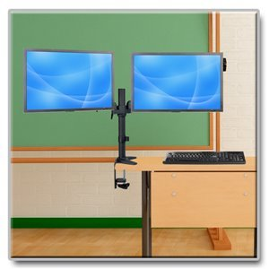 "Dual Flex-Arm Desk Clamp for Two 13""-27"" Flat-Screen Displays"