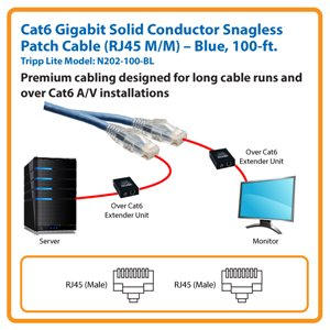 100-ft. Cat6 Gigabit Solid Conductor Snagless Patch Cable (Blue)