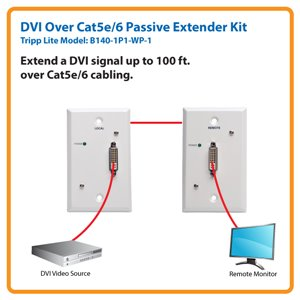 DVI over Cat5e/6 Passive Wallplate Kit Extends a DVI-D Single-Link Signal 100 ft.!