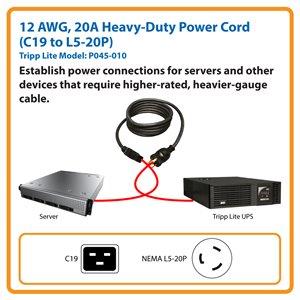 10 ft., Heavy-Duty Computer Power Cord for Servers (C19 to NEMA L5-20P)