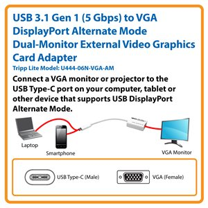 USB Type-C™ 3.1 Gen 1 (5 Gbps) to VGA DisplayPort Alternate Mode Dual-Monitor External Video Graphics Card Adapter