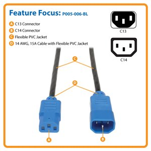 6-ft., Heavy-Duty 14 AWG, 15A Power Cord (C13 to C14) with Blue Connectors