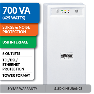 INTERNETOFFICE700 Standby Tower UPS with USB Interface, Tel/DSL/Ethernet Protection
