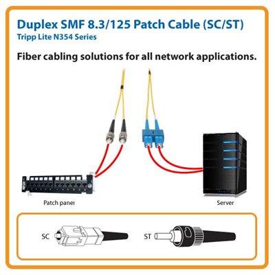 Duplex SMF 8.3/125 16 ft. Fiber Patch Cable with SC/ST Connectors