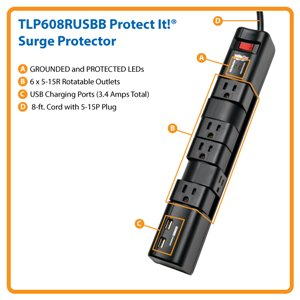 Powerful Surge Suppression with 6 Rotatable Outlets and the Convenience of 3.4A USB Charging