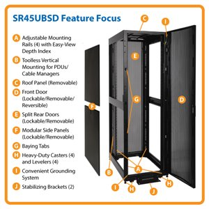 45U Shallow-Depth Premium Rack Enclosure Server Cabinet