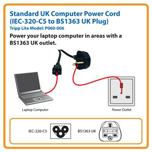 1.8 m (6 ft.) Standard UK Computer Power Cord (IEC-320-C5 to BS1363 UK Plug)