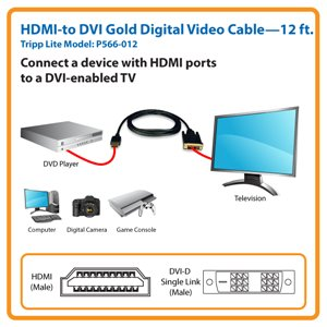 12-ft. HDMI-to-DVI Gold Digital Video Cable the Smart Solution for Home Theater and A/V Applications