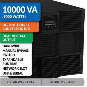 SU10KRT3U SmartOnline® Hot-Swappable Double-Conversion Rack/Tower Sine Wave UPS with Dual-Voltage Output, Expandable Runtime, Bypass Switch, Network Slot and LCD/LED Control Panel