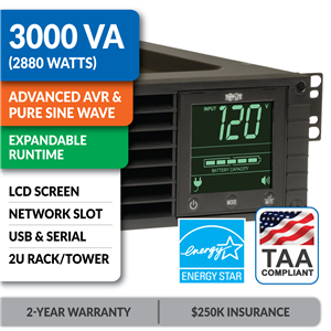 SM3000RMXL2UTAA SmartPro® Line-Interactive Rack/Tower Sine Wave UPS with Expandable Runtime, Network Slot and LCD