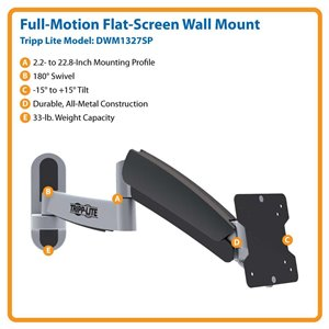 "Ideal For 13""-27"" Displays – This Full-Motion Wall Mount is Simple to Install & Guaranteed to Last!"