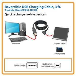 Charge Your Micro-USB Mobile Devices (Reversible A to Right-Angle 5-Pin Micro-B, M/M)