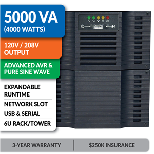 SMART5000RT3U SmartPro® Line-Interactive Rack/Tower Sine Wave UPS with Expandable Runtime and Network Slot
