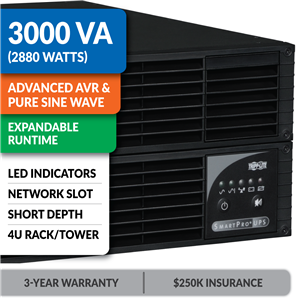 SMART3000CRMXL SmartPro® Line-Interactive Rack/Tower Sine Wave UPS with Expandable Runtime and Network Slot