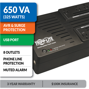 AVR650UM Ultra-Compact Line-Interactive UPS with USB Port and Muted Alarm