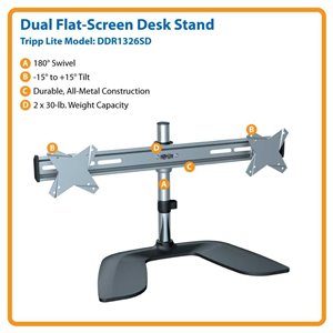 "Ideal For Two 13""-26"" Displays – This Desk Mount is Simple to Install & Guaranteed to Last!"