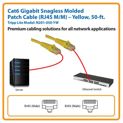 50-ft. Cat6 Gigabit Snagless Molded Patch Cable (Yellow)