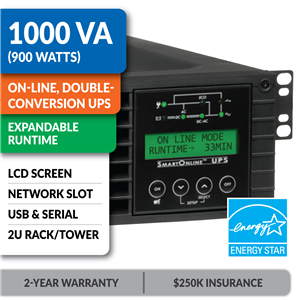 SU1000RTXLCD2U SmartOnline® 1000VA Double-Conversion Rack/Tower Sine Wave UPS with Expandable Runtime, Network Slot and LCD