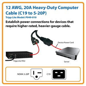 10 ft., Heavy-Duty Computer Power Cord for Applications Requiring a Higher-Rated, Heavy-Gauge Cable (C19 to NEMA 5-20P)